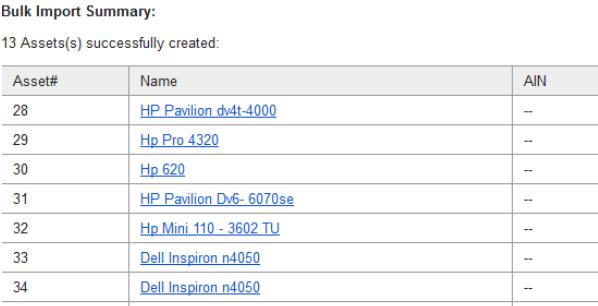 Bulk Import Summary email