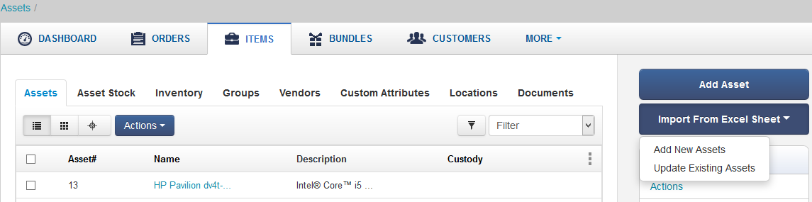 Import Items Page