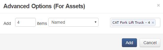 Add items - advanced options