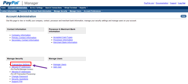 PayPal Account Administration Section