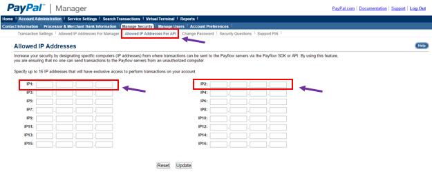IP Addresses for API