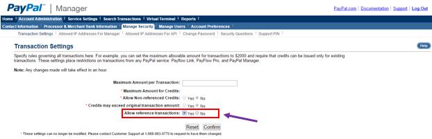 PayPal transaction settings