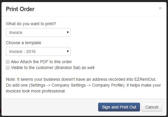 Print Rental Order EZRentOut