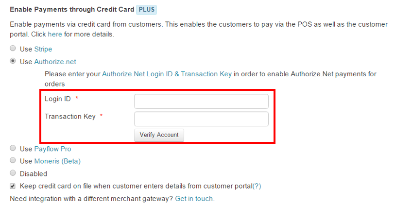 Login ID and Transaction key