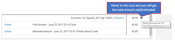 Paid and Refunded Amount