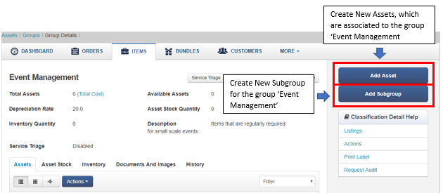 add items and subgroups in a group