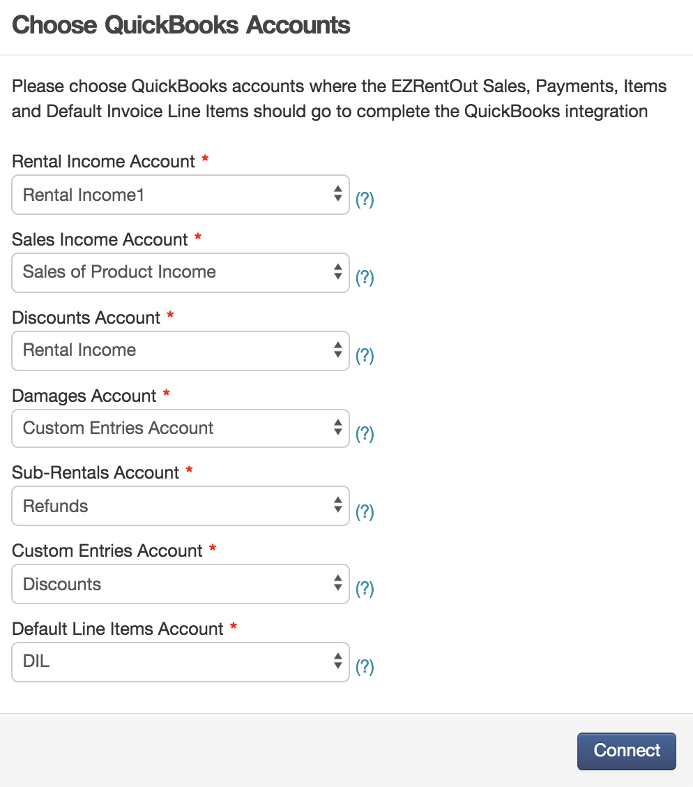 Choose Quickbooks accounts
