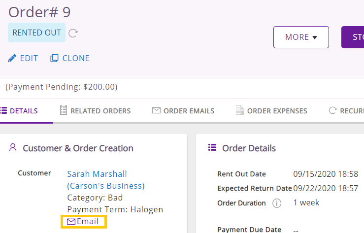 Email from order details page