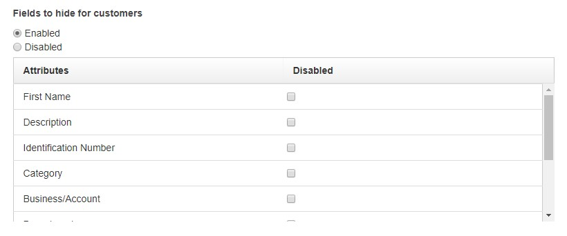 disable customers fields