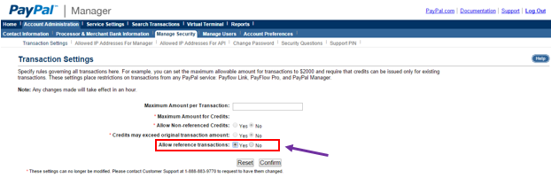 PayPal transaction settings