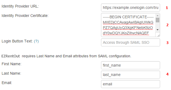 SAML configuration settings