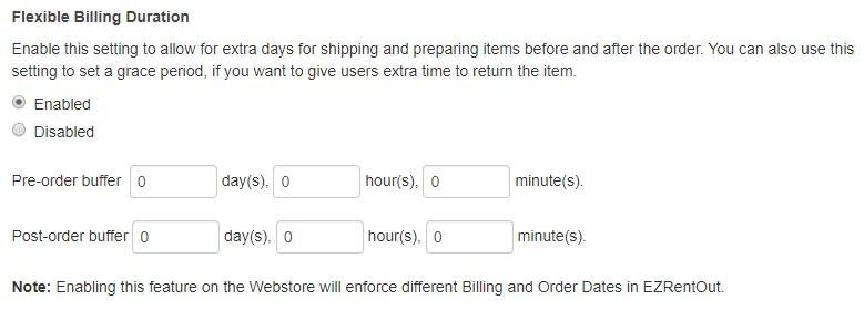 Webstore - flexible billing duration