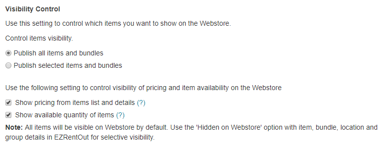 visibility control for webstore