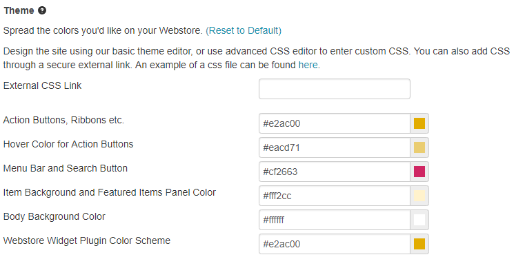 webstore widget plugin color scheme