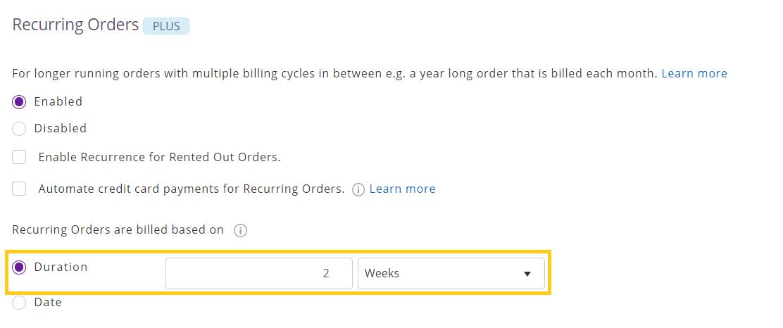 Enable recurring orders