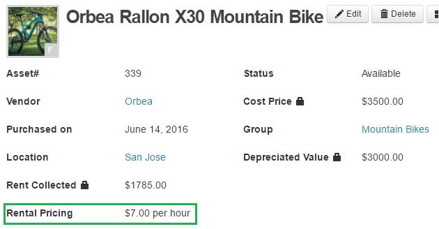 rental pricing field