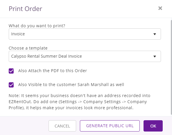 choose template from order details page