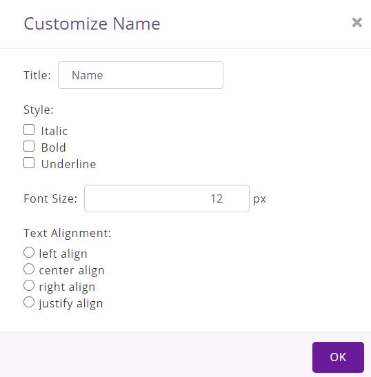 customize item name