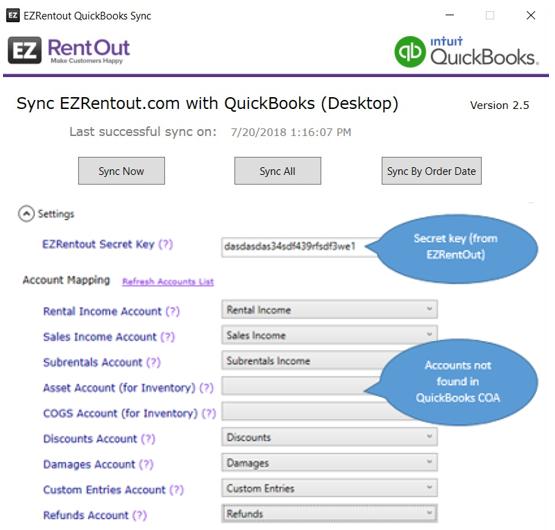 QuickBooks COA not found