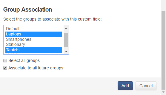 assign groups to custom fields