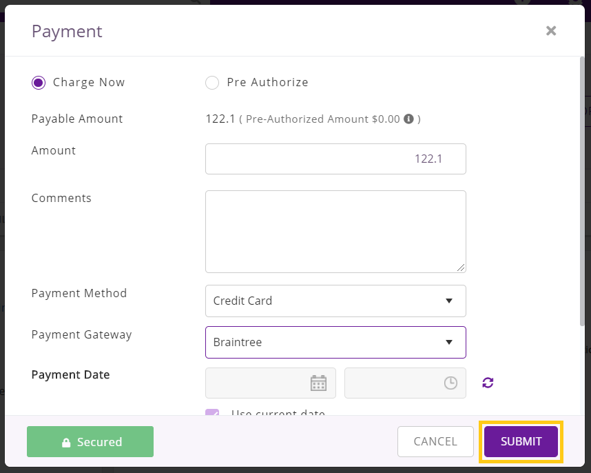 Charge payment via CC