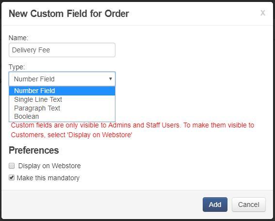 Order Custom Field