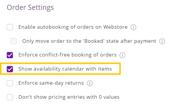 enable availability calendar on webstore