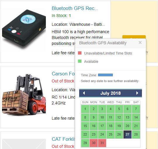 item availability calendar