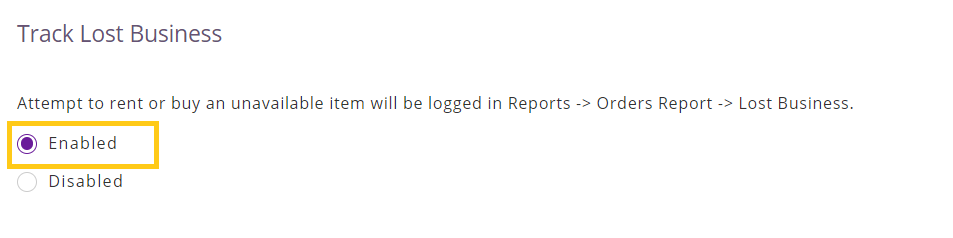 Enable lost business report