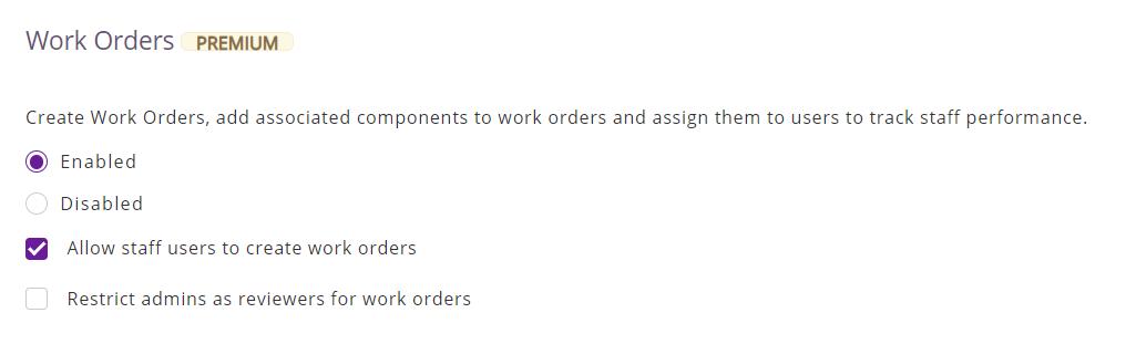 Enable Work Orders