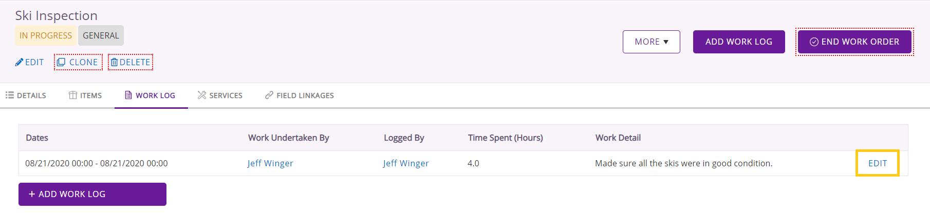 Edit work log