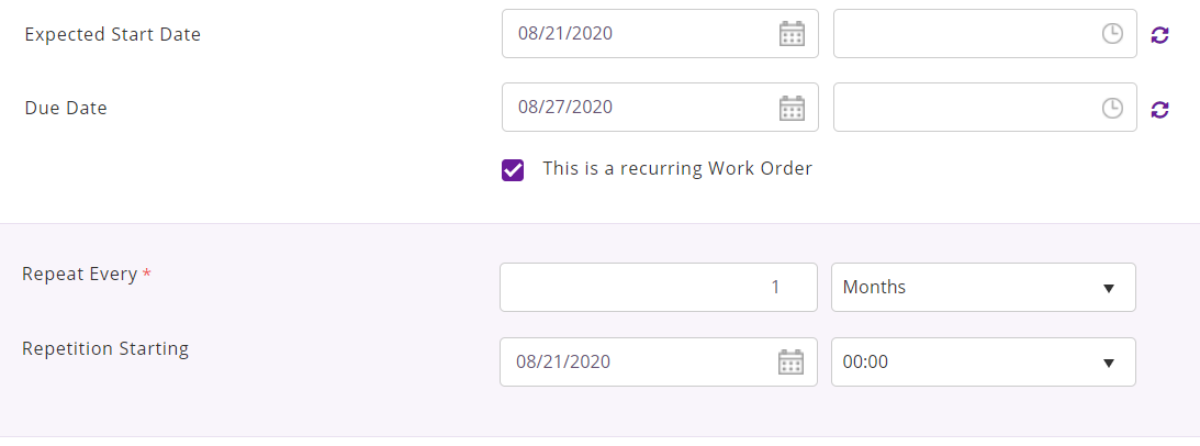 This is a recurring work order