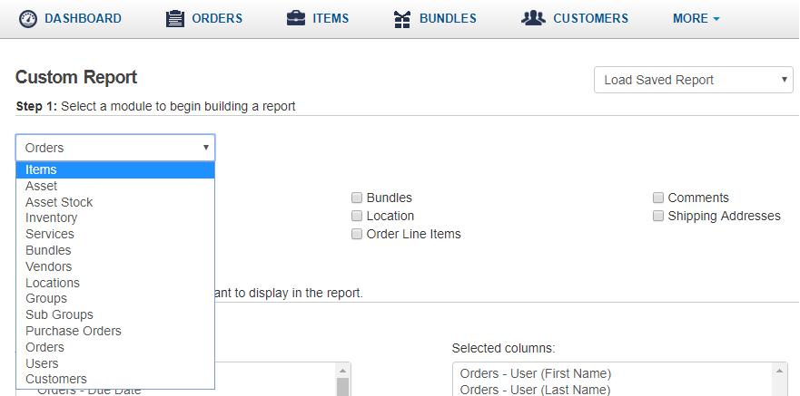 Primary modules for Custom Report