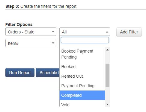 Applying filters to custom reports