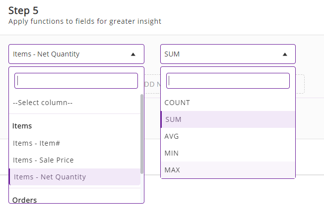functions in custom reports