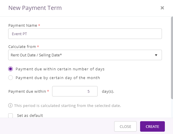 create new payment term