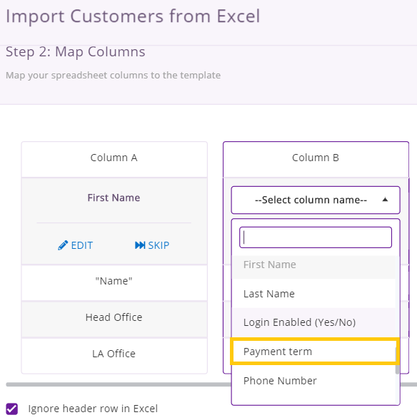 excel import field