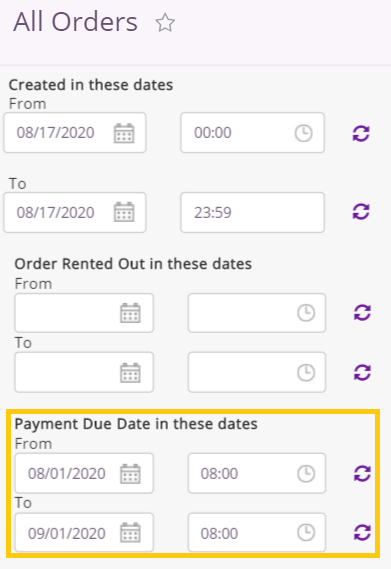 filters for payment terms