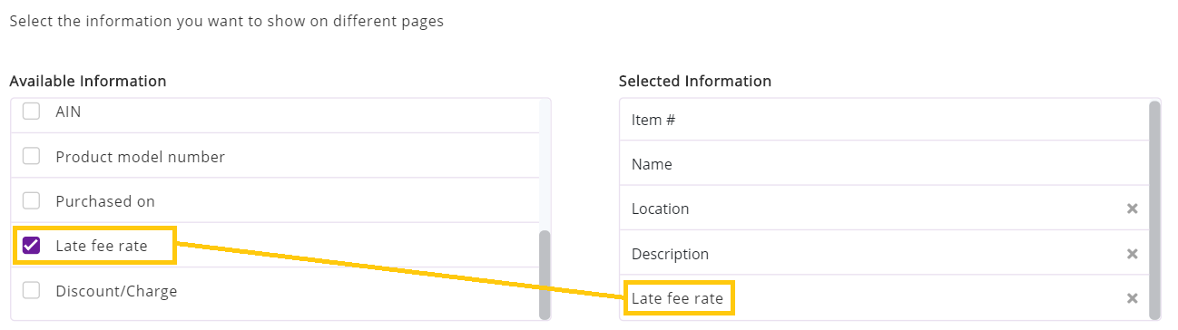 late fee rate for webstore