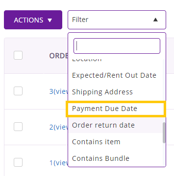 payment due date filter