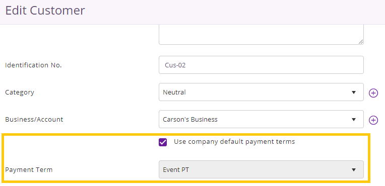 payment term for customers