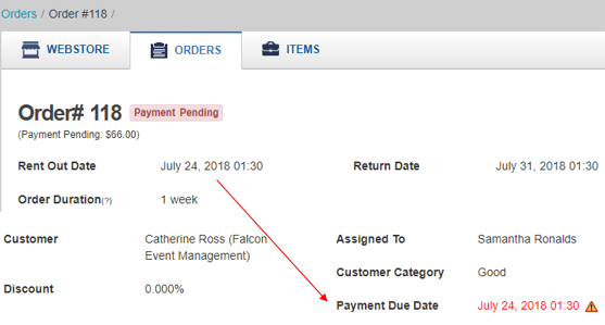 payment term on customer portal