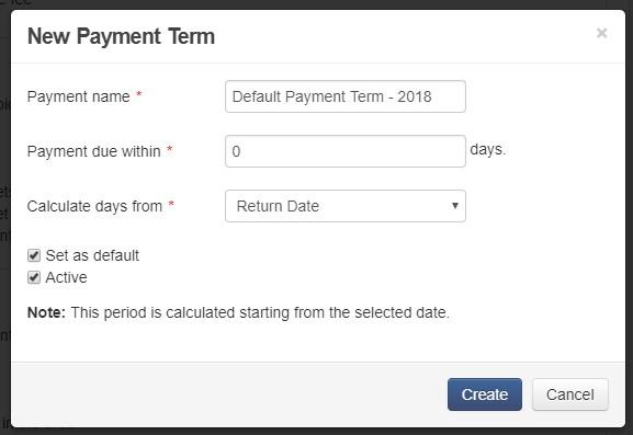 payment terms - default payment term 2018