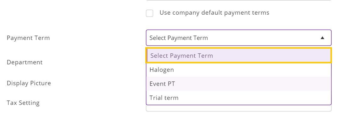 no payment term