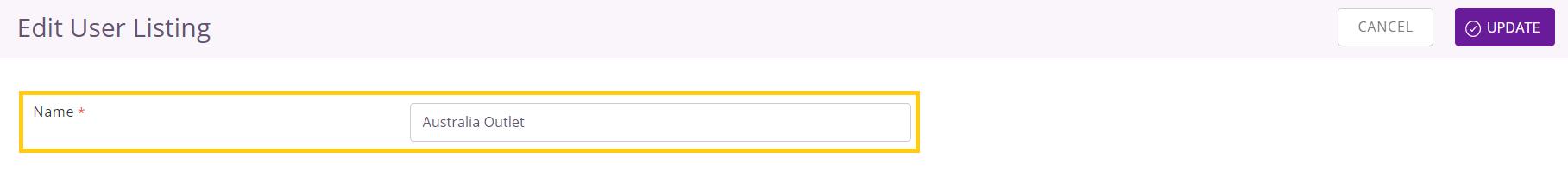 Edit user listing