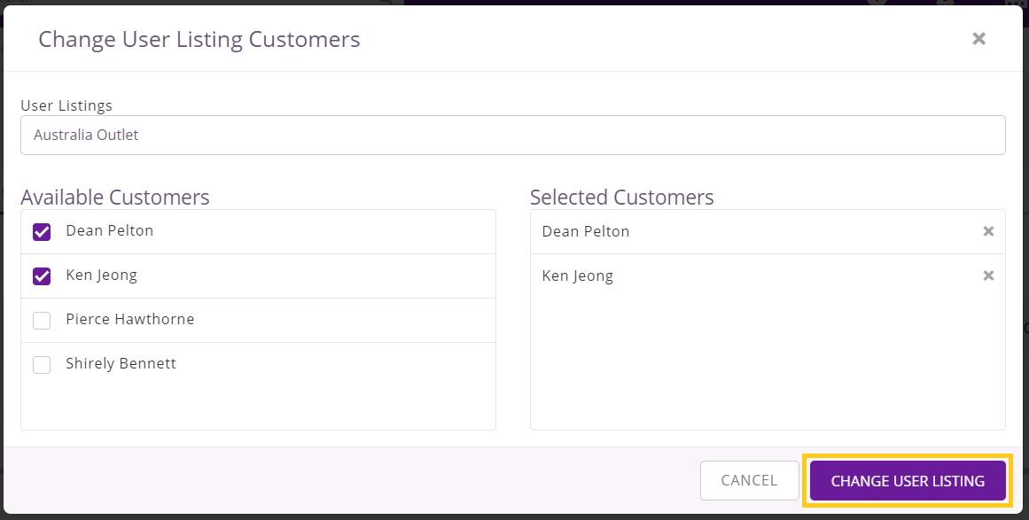 Change Customer user listing