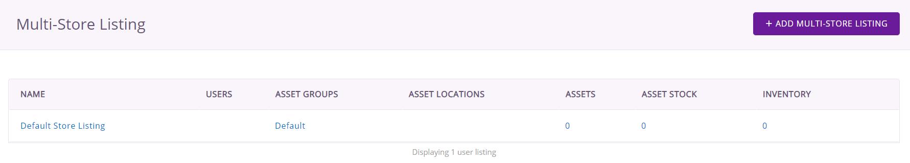 Default multi-store listing