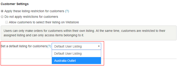 default listing for customers