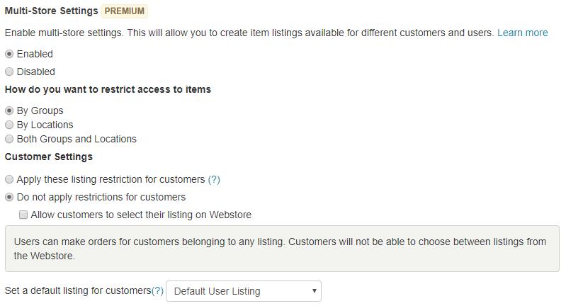 multistore settings