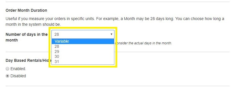 order month duration selection